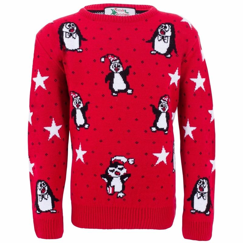 Foute kinder kersttrui met pinguins 9/10 jaar (140) -