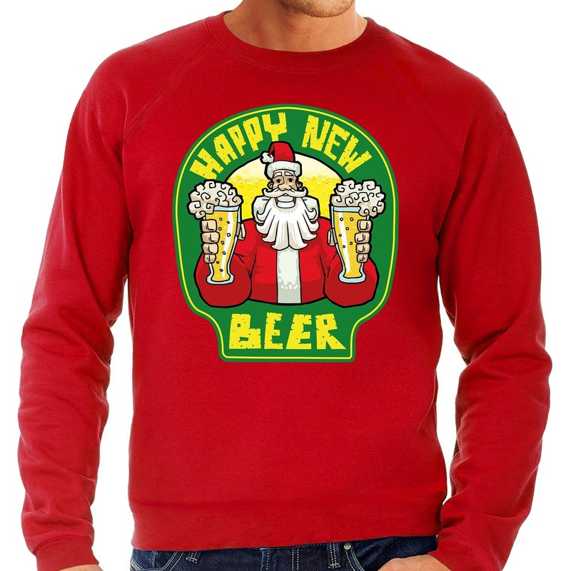 Foute oud en nieuw trui / kersttrui happy new beer / bier rood voor heren 2XL (56) Rood