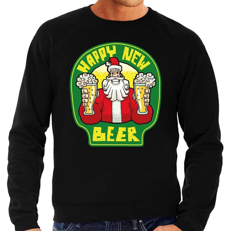 Foute oud en nieuw trui / kersttrui happy new beer / bier zwart voor heren 2XL (56) Zwart