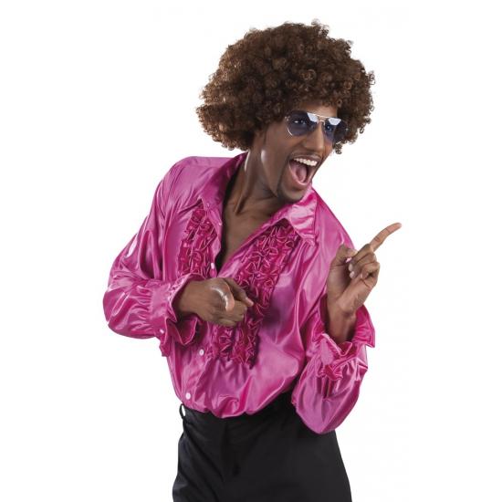 Fuchsia rouche overhemd voor heren M Roze