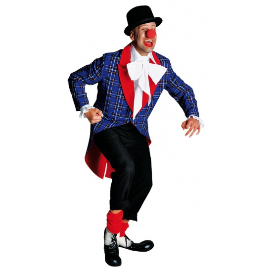 Geblokte clowns jas met rood accent L (56-58) Multi