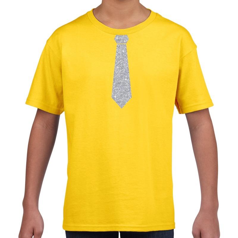 Geel t-shirt met zilveren stropdas voor kinderen M (134-140) Geel