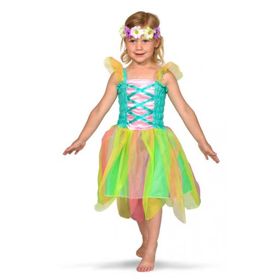 Gekleurd feeen kostuum voor meisjes 6-8 jaar Multi