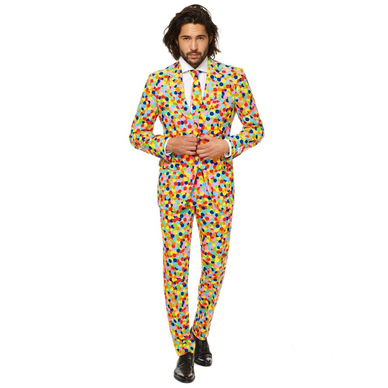 Gekleurde business suit confetti print 52 (XL) Multi