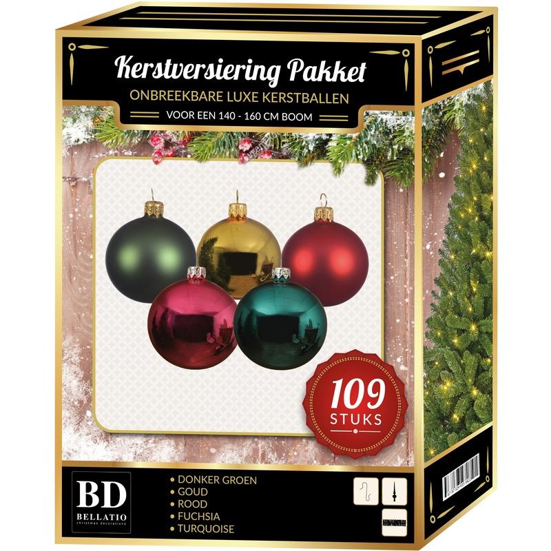 Gekleurde Kerstversiering voor 150 cm boom 109-delig