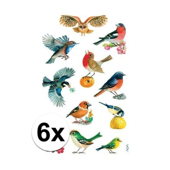 Gekleurde vogel stickertjes 6 vellen Multi
