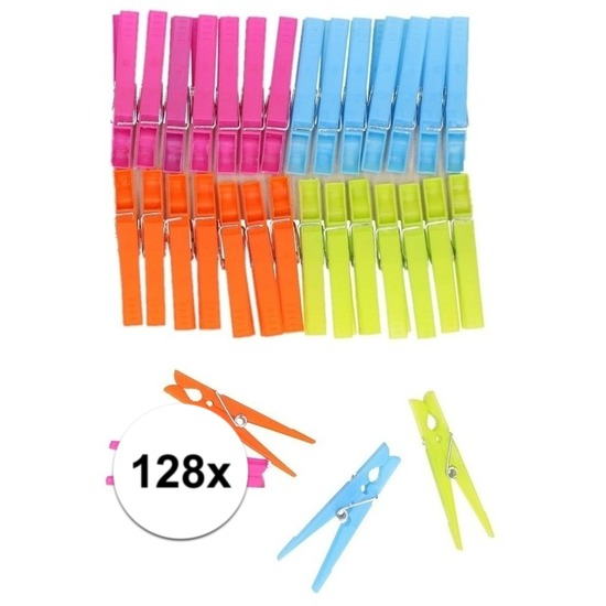 Gekleurde wasknijpers 128 stuks Multi