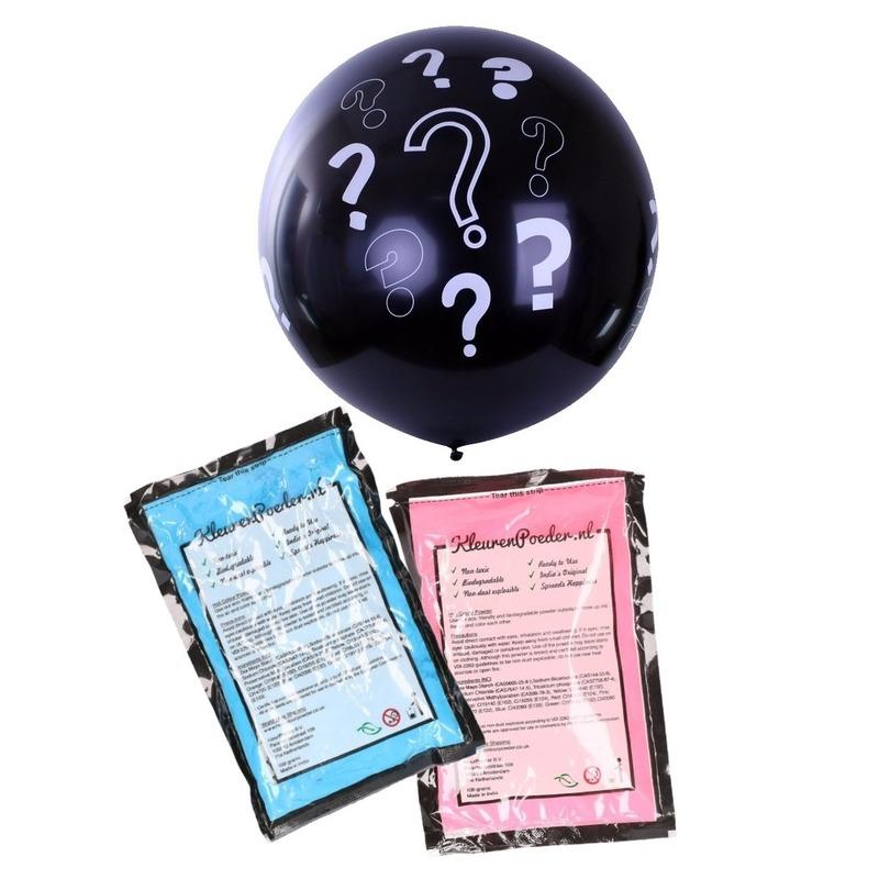 Gender reveal ballon voor party / feestje incl blauw en roze poederf zwart 90 cm