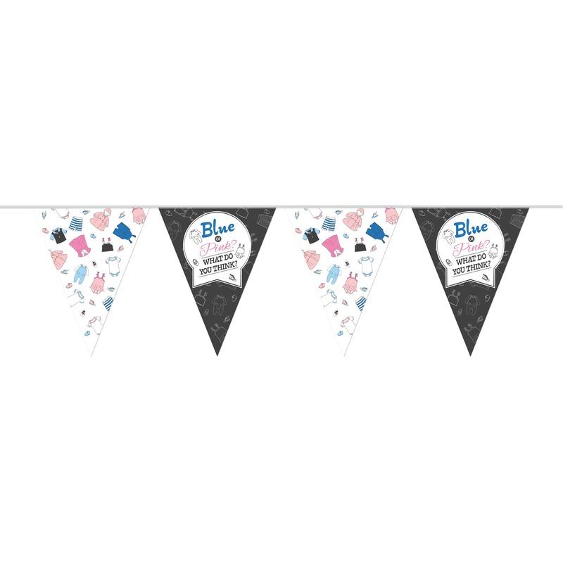 Gender reveal party/feestje versiering vlaggenlijn 10 meter