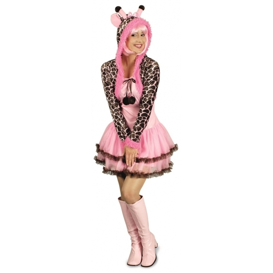 Giraffe verkleed kostuum/jurk voor dames. 36/38 Roze