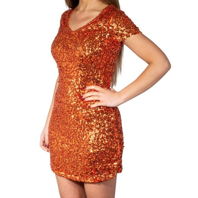 Glitter pailletten stretch jurkje oranje dames S/M (36-38) Oranje
