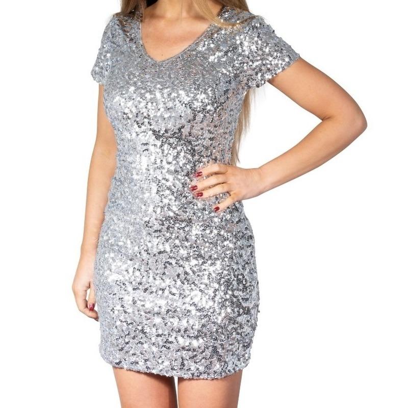 Glitter pailletten stretch jurkje zilver dames S/M (36-38) Zilver