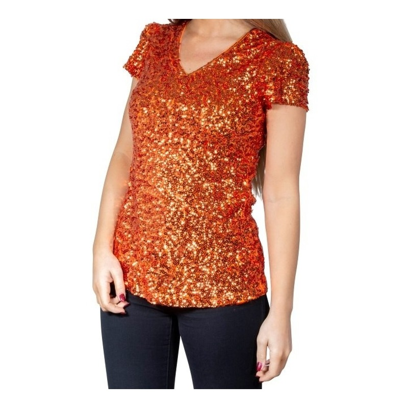 Glitter pailletten stretch shirt oranje dames One size Oranje