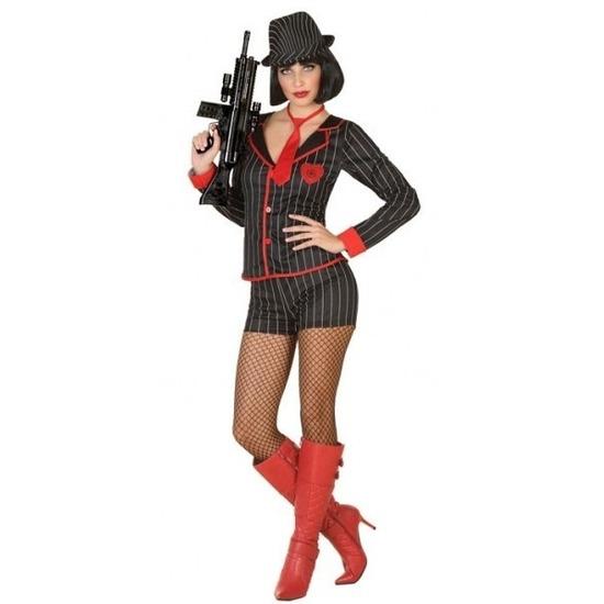 Goedkoop gangster kostuum voor dames XS/S (34-36) Multi