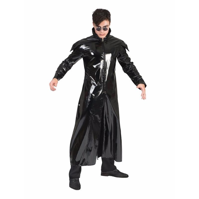 Gothic/dracula/vampier glimmende mantel kostuum voor heren 52-54 (L/XL) Zwart