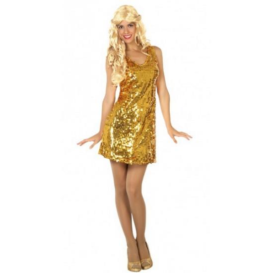 Goud disco jurkje met pailletten M/L (38-40) Goudkleurig