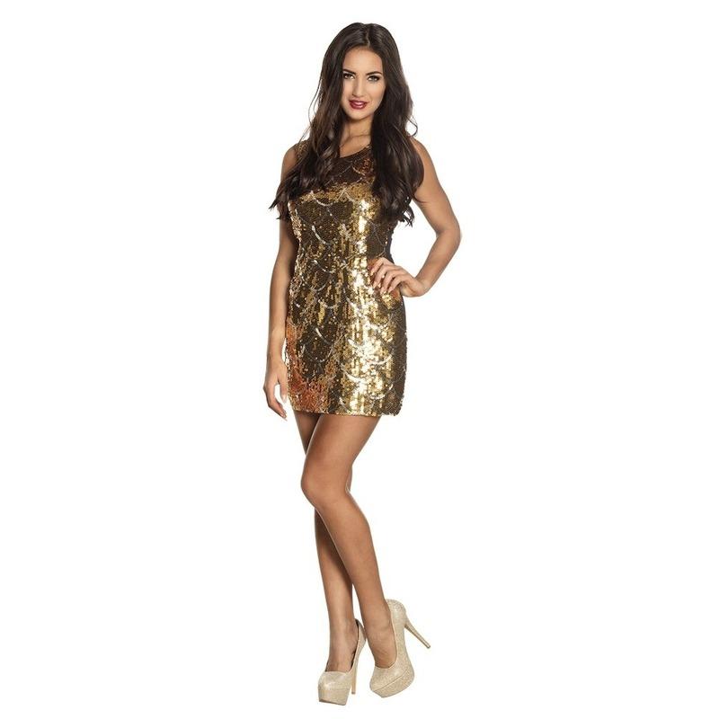 Goud disco jurkje met pailletten M Goudkleurig