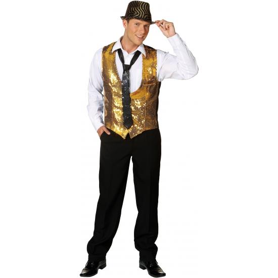 Goud heren vestje met pailletten 52-54 (L/XL) Goudkleurig