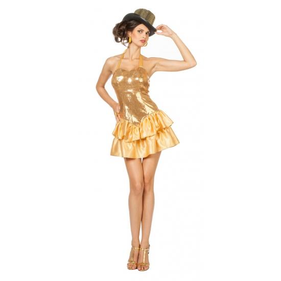 Goud jurkje met pailletten voor dames 38 (M) Goudkleurig