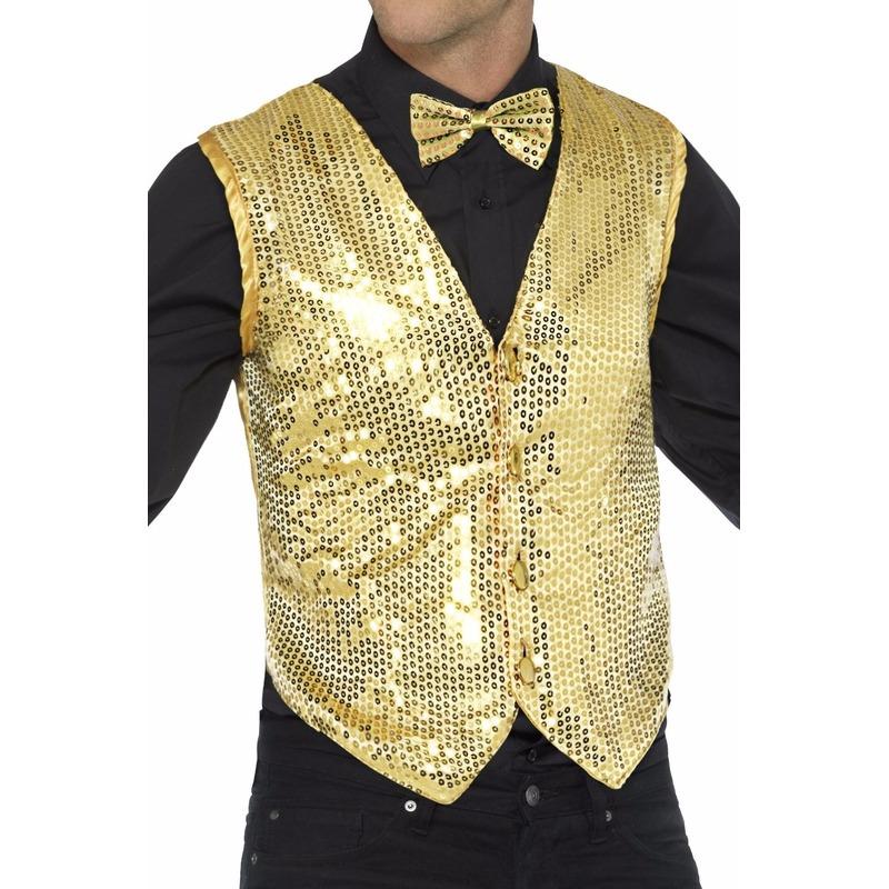 Goud pailletten vestje voor heren 52-54 (L) Goudkleurig