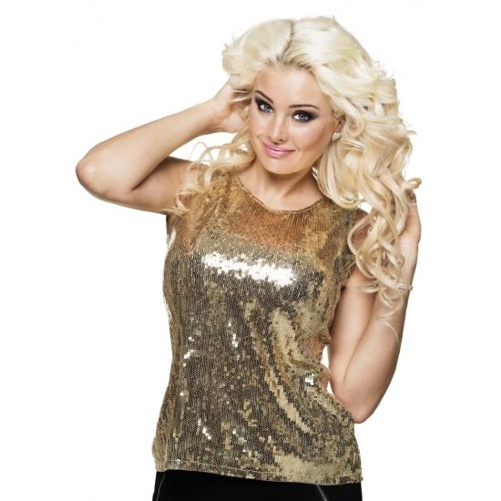 Gouden dames top met pailletten M Goudkleurig