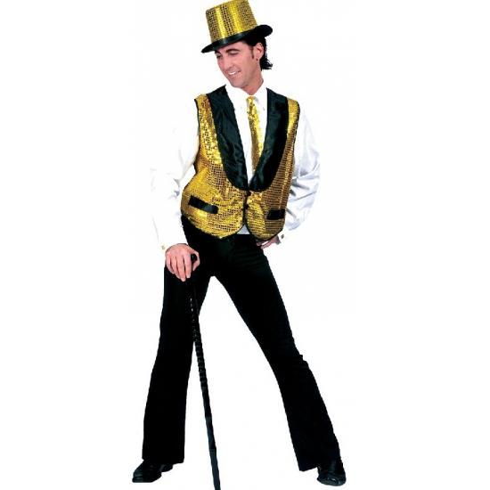 Gouden disco gilet voor heren XL Goudkleurig