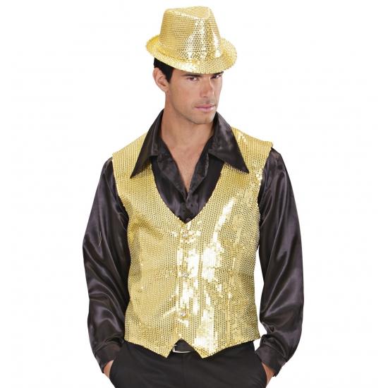 Gouden disco giletje voor hren L Goudkleurig
