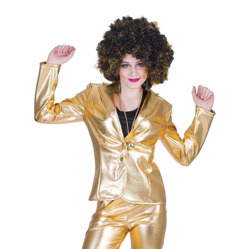 Gouden disco jaren 70 jasje voor dames 40-42 (L/XL) Goudkleurig