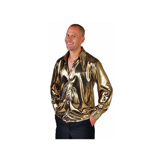 Gouden disco overhemd voor heren 64-66 (2XL) Goudkleurig