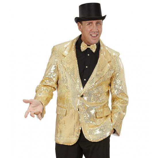 Gouden glitter colbert 54 (XL) Goudkleurig