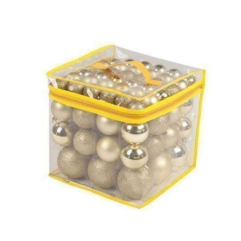Gouden kerstballen onbreekbaar 77 stuks 4 / 6 / 8 cm
