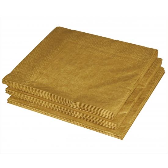 Gouden lunch servetten 60x stuks Goudkleurig
