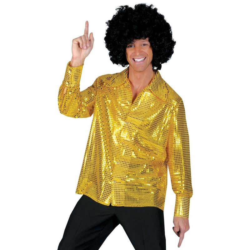 Gouden pailletten blouse heren 56-58 (2XL/3XL) Goudkleurig