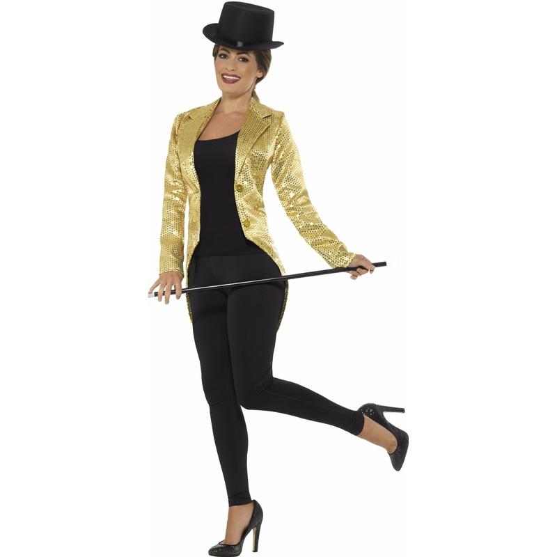 Gouden pailletten circus jas voor dames 44-46 (L) Goudkleurig
