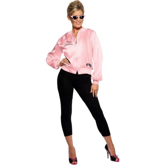 Grease Pink Ladies verkleed kostuum roze college jacket voor dames