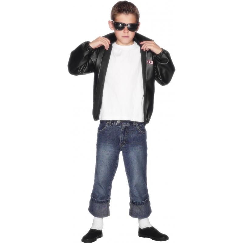 Grease verkleedkleding jasje 6-8 jaar Zwart