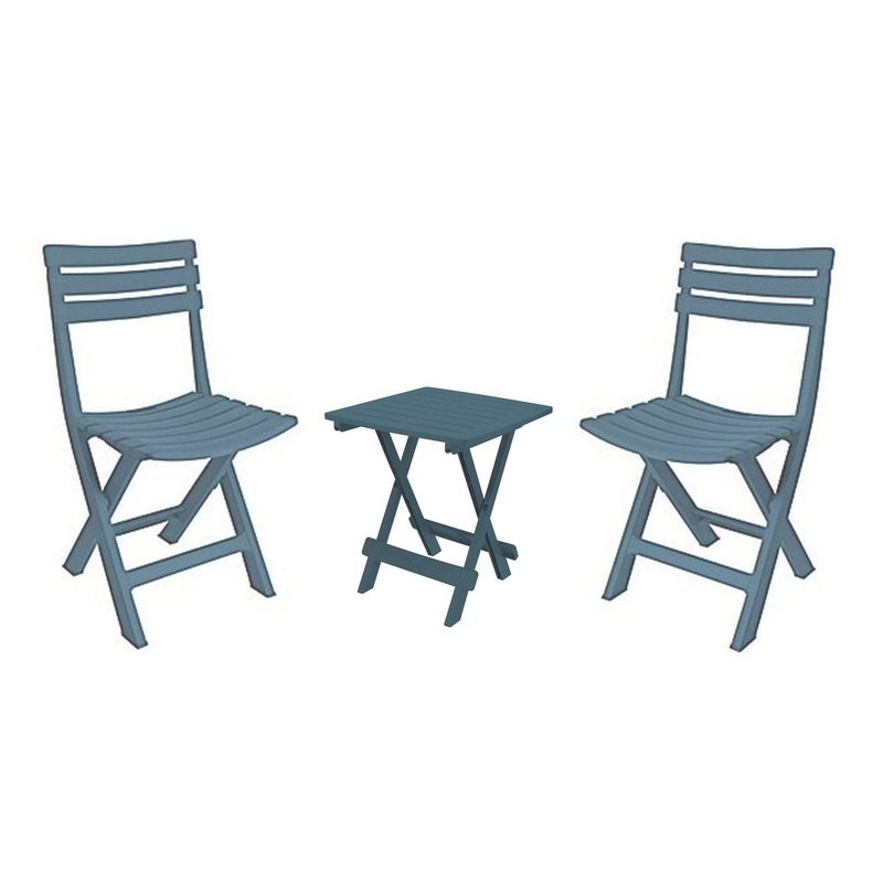 Grijsblauw camping tafeltje met 2 stoelen Blauw