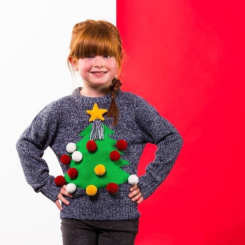 Grijze kerst sweater 3D kerstboom voor kinderen 9-10 jaar (140-146) -