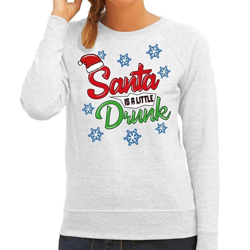 Grijze kersttrui - kerstkleding Santa is a little drunk voor dames 2XL (44) -