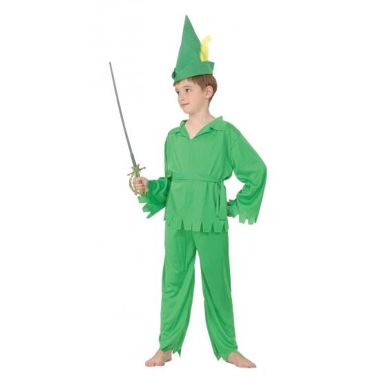 Groen bos jongen kostuum voor kinderen 116 - 4-6 jr Groen