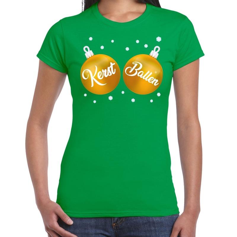 Groen kerstshirt / kerstkleding met gouden kerst ballen voor dames XS Groen