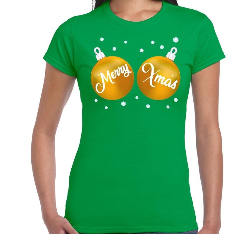 Groen kerstshirt / kerstkleding met gouden merry xmas ballen voor dames S Groen