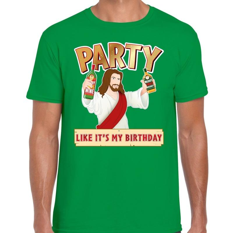 Groen kerstshirt / kerstkleding met party Jezus voor heren S Groen