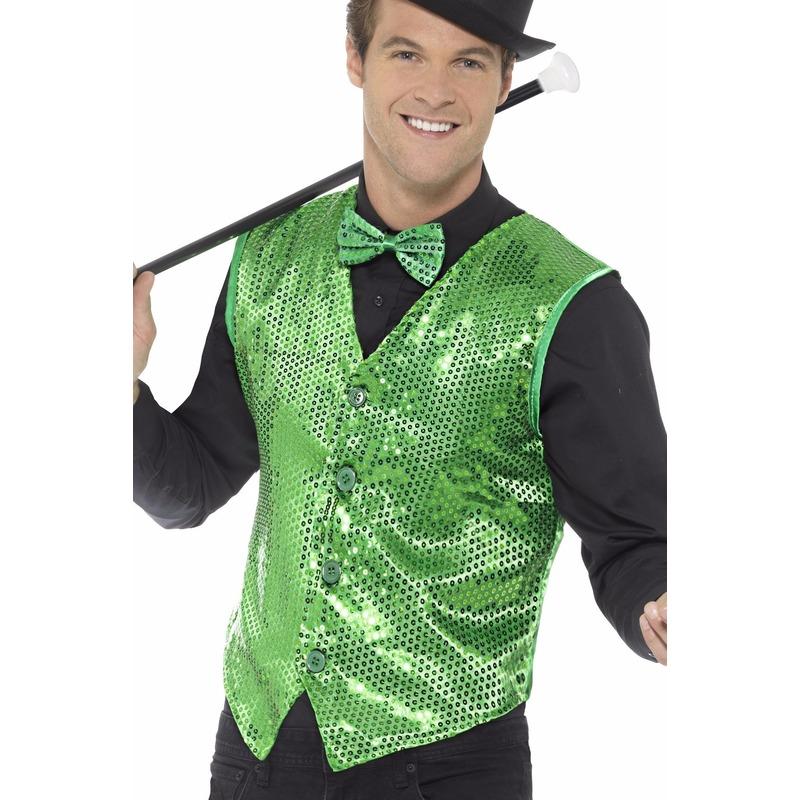 Groen pailletten vestje voor heren 48-50 (M) Groen