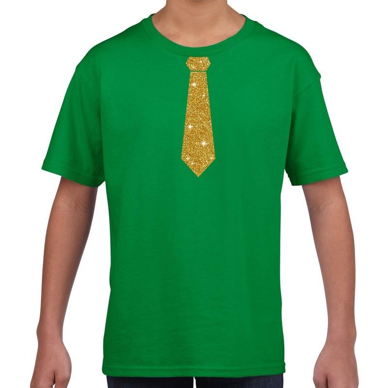 Groen t-shirt met gouden stropdas voor kinderen M (134-140) Groen