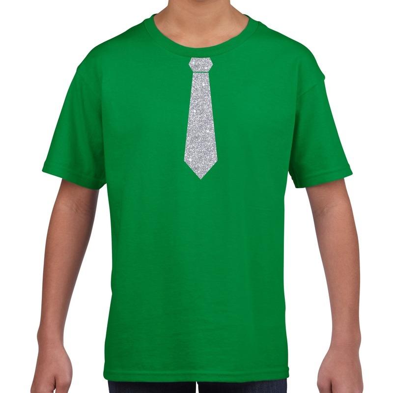 Groen t-shirt met zilveren stropdas voor kinderen M (134-140) Groen