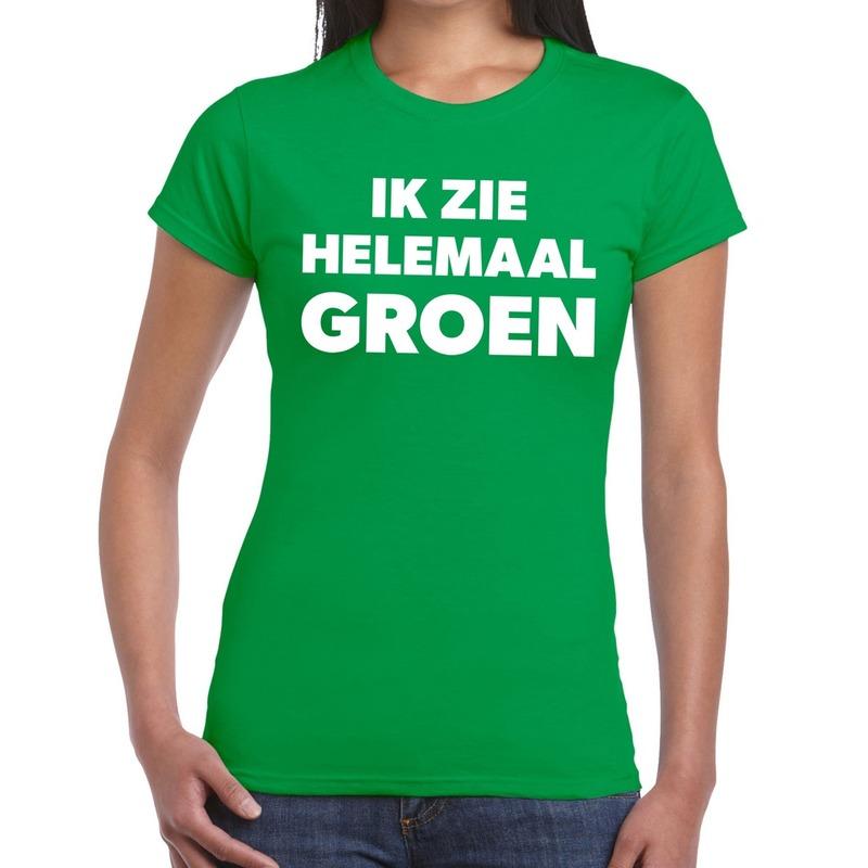 Groen tekst t-shirt ik zie helemaal groen dames XS Groen