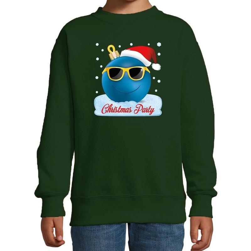 Groene coole kersttrui / kerstkleding Christmas party voor jongens met stoere kerstbal bedrukking 7-8 jaar (122/128) Groen