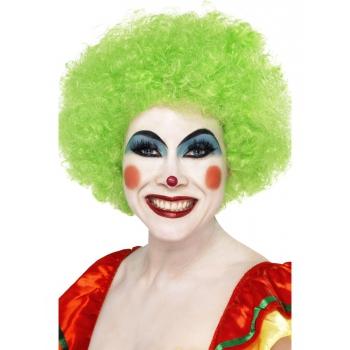 Groene crazy clown pruik