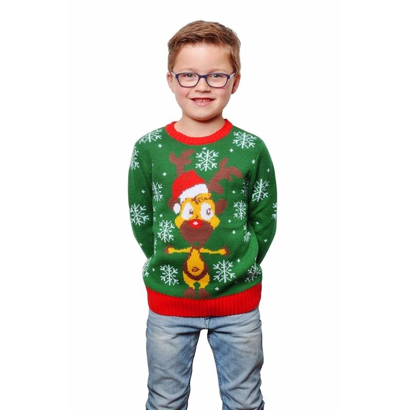 Groene foute kersttrui met rendier voor kids 9/10 jaar (140/146) Groen